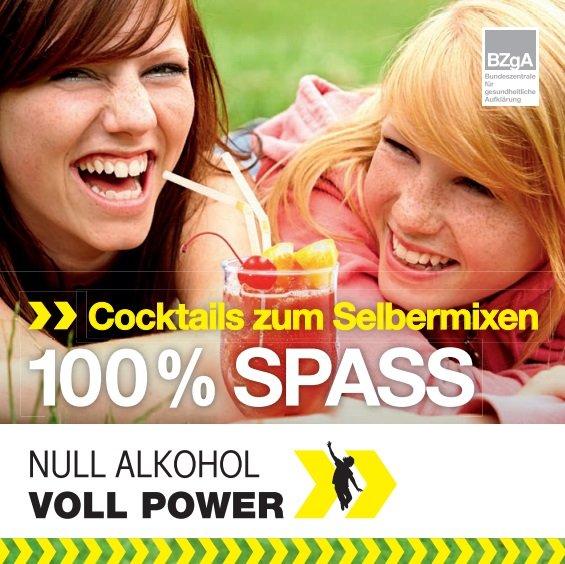 "BZgA: Rezeptheft ""Null Alkohol - Voll Power: Cocktails zum Selbermixen"" kostenlos bestellen"