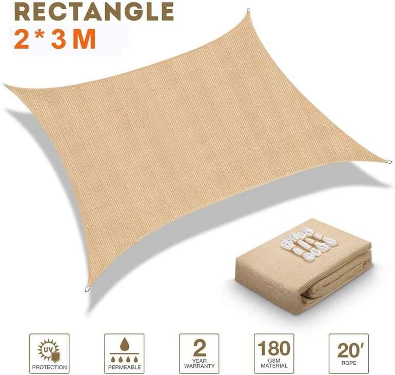 Mayepoo Sonnensegel (2m x 3m) in Beige und Grau für 16,19€ inkl. Primeversand (statt 27€)