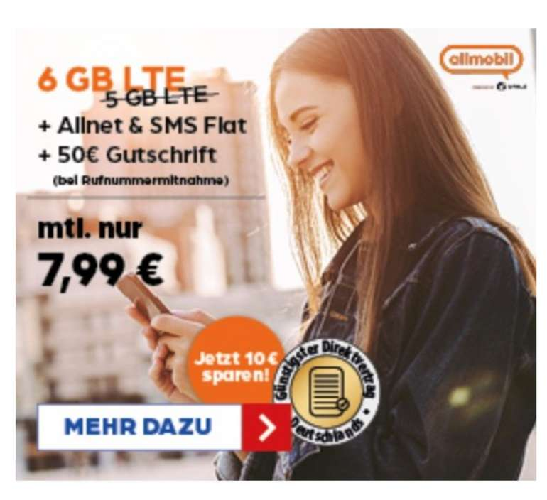 Preisbörse24: allmobil Vodafone Allnet-Flat L mit 6 GB LTE für 7,99€ mtl. (AP: 9,99€, Rufnummermitnahme: 50€)