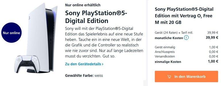 PlayStation 5 Digital Edition o2 Allnet-Flat 20GB LTE