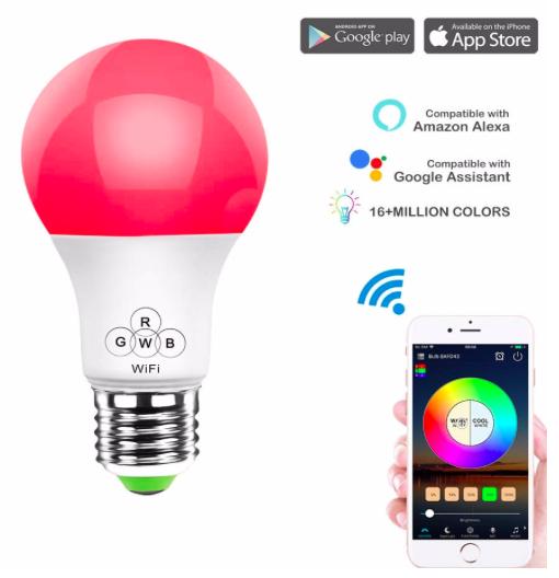 HaoDeng - Smarte E27 LED Lampe (dimmbar, Alexa, Ifttt, Google komp.) für 8,99€