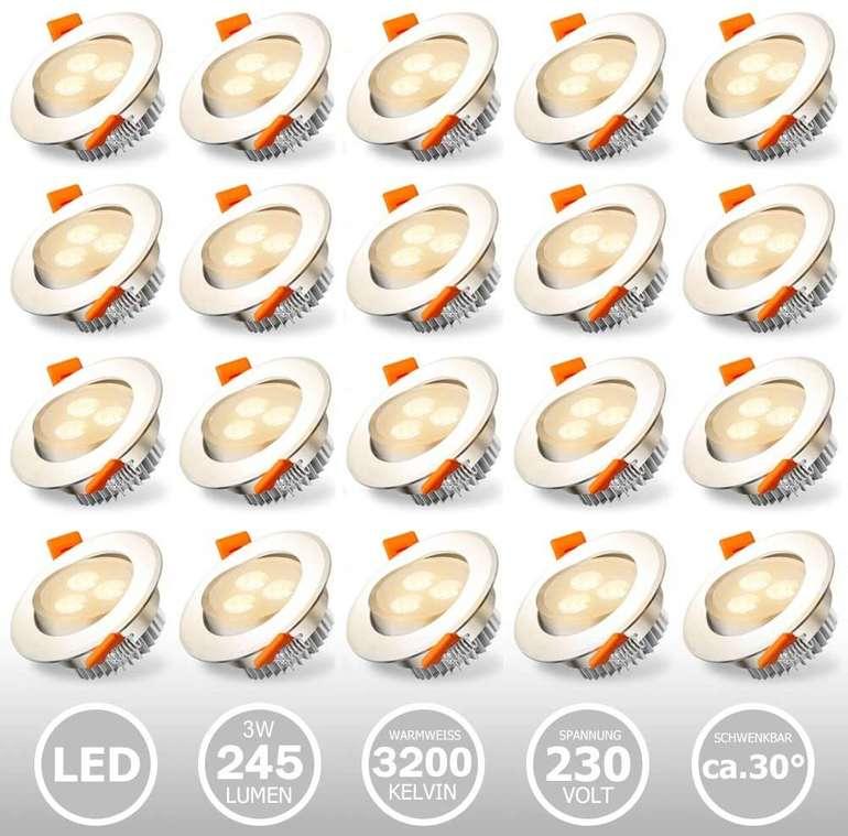 20er Pack Hengda LED Einbaustrahler (Einbau-Spots, 3W, A++) für 22,39€ inkl. Versand (statt 32€)