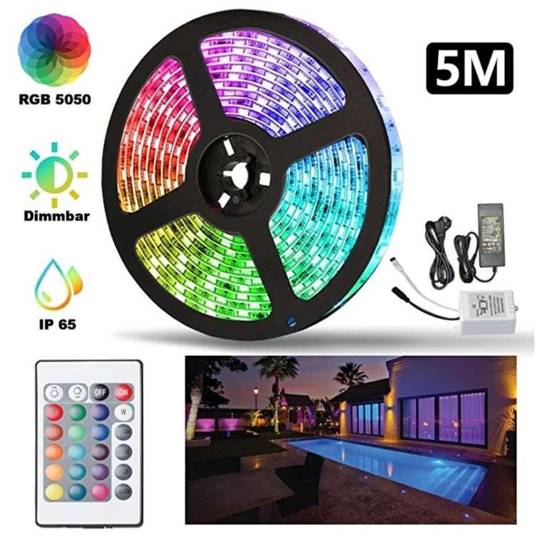 Hengda LED-Streifen mit Farbwechsel und Fernbedienung (wasserdicht) reduziert -  z.B. 5 Meter je 15,29€