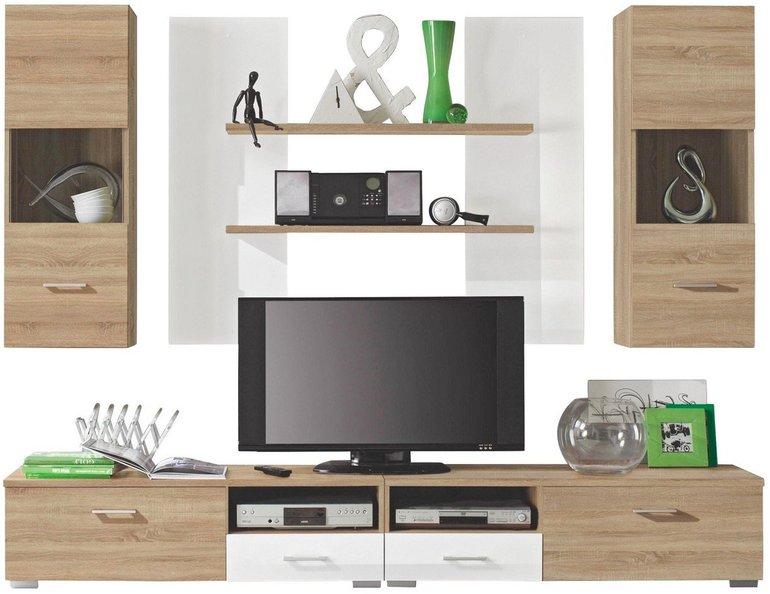Carryhome Wohnwand (2 Hängeschränke, 2 Wandboards, TV-Element) für 128,99€