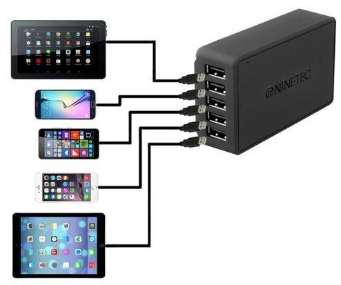 Ninetec NT-540IQ - 40W 5-Port USB Universal Ladegerät mit SmartIQ für 7,77€