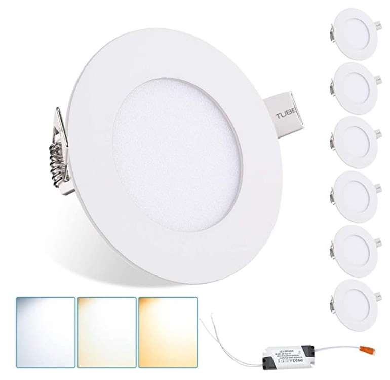 6er Pack Wolketon 3W LED Einbaustrahler mit Trafo (3 in 1 Farbwechsel, 3000-6500K) für 18,19€ (statt 26€)