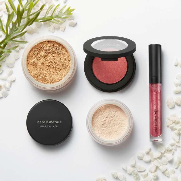 bareMinerals-Set mit Foundation, Mineral Veil, Lipgloss & Rouge für 34,99€
