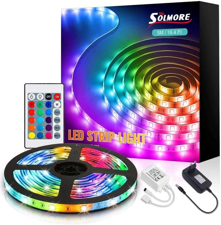 Solmore 5m RGB LED Streifen mit Fernbedienung für 9,89€ inkl. Prime Versand (statt 15€)