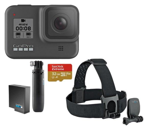GoPro HERO8 Black Holiday Bundle inkl. Shorty, Akku, Speicherkarte & Kopfband für 381,99€