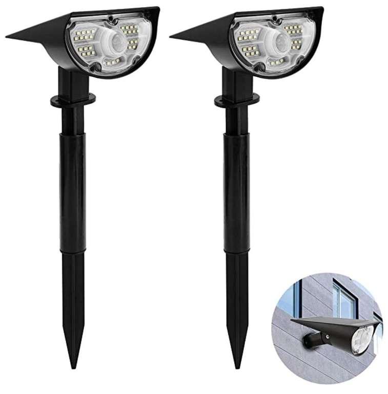 2er Pack Hengda Garten Solarleuchten mit 18 LEDs und Bewegungsmelder (2 Helligkeitsstufen, IP66) für 21,69€