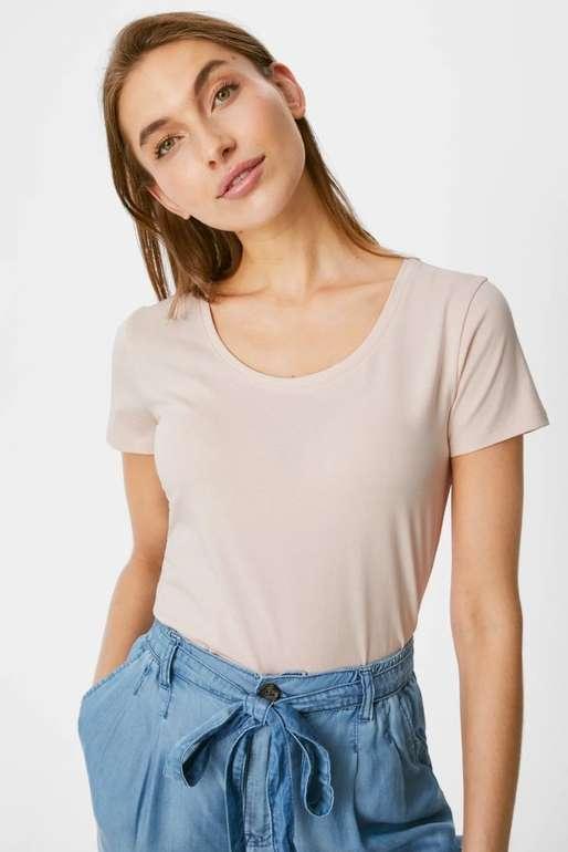 C&A 5er Pack Damen Basic T-Shirts aus Bio-Baumwolle für 9,99€ inkl. Versand (statt 22€)