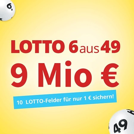 Lottohelden: 10 Felder 6aus49 für 1€ - 9 Millionen € im Jackpot!