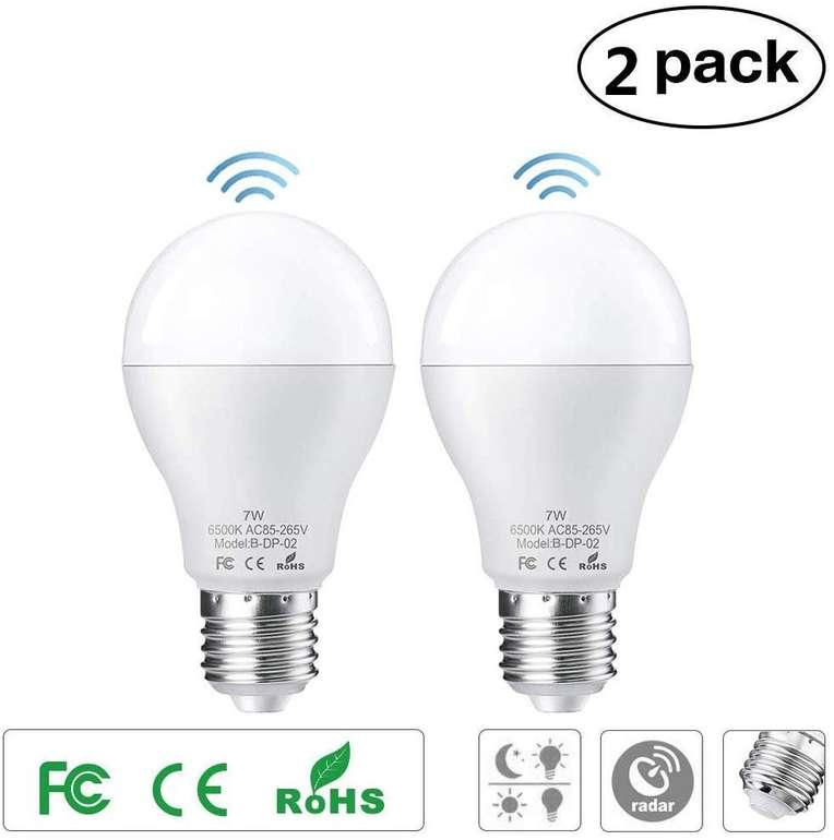 Ltteny - 2er Pack E27 LED Birnen mit Bewegungssensor für 7,96€ inkl. Versand