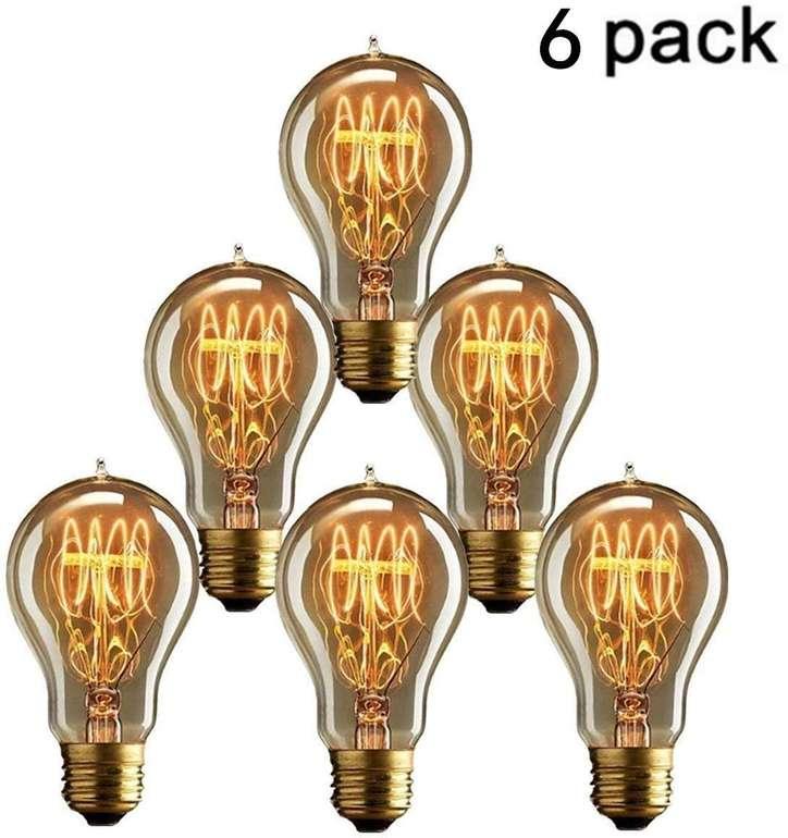 6er Pack Kingso E27 Edison Retro Lampen (A19, 40W) für 13,08€ inkl. Prime VSK
