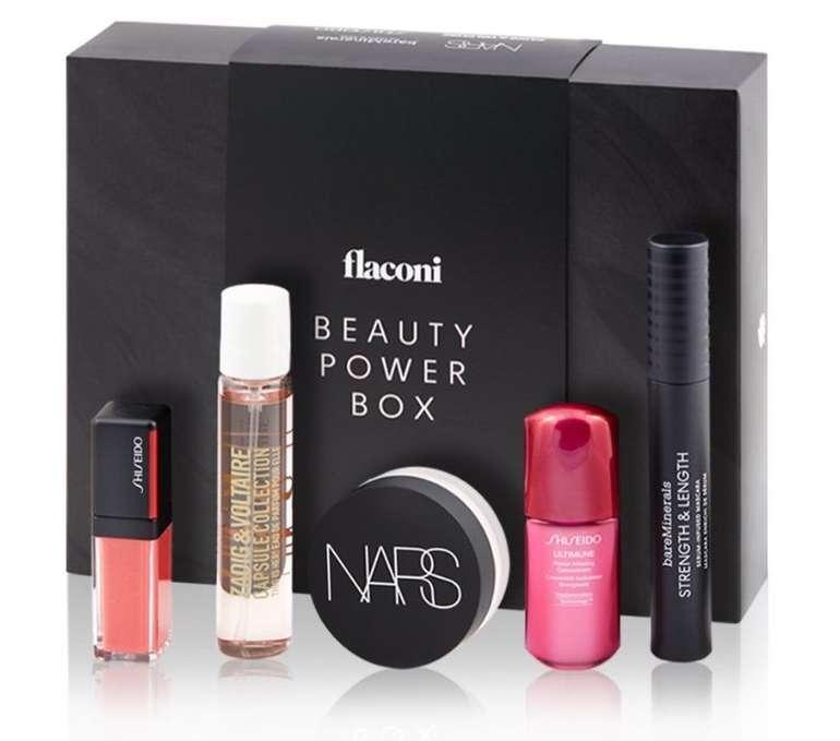 Flaconi Beauty Power Box (20ml Parfüm + Lipgloss + 10ml Gesichtsserum + Loser Puder + Mascara) für 42,20€