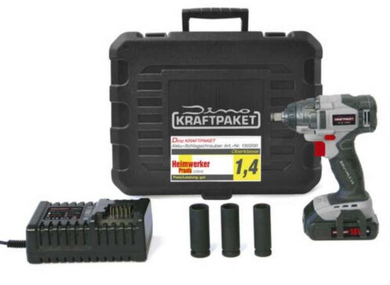 Dino Kraftpaket 130200 Akku-Schlagschrauber (260Nm, 18V mit Akku, Ladegerät, Steckschlüsselsatz) für 89,24€