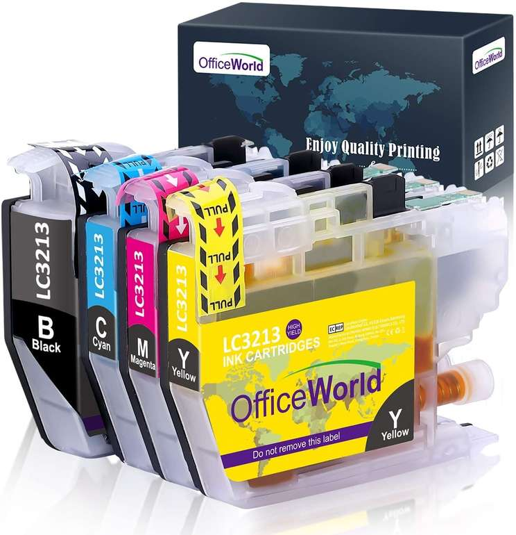 OfficeWorld kompatible Ersatz Patronen LC3213/LC3211 (Brother) für 4,89€ inkl. Prime Versand (statt 14€)