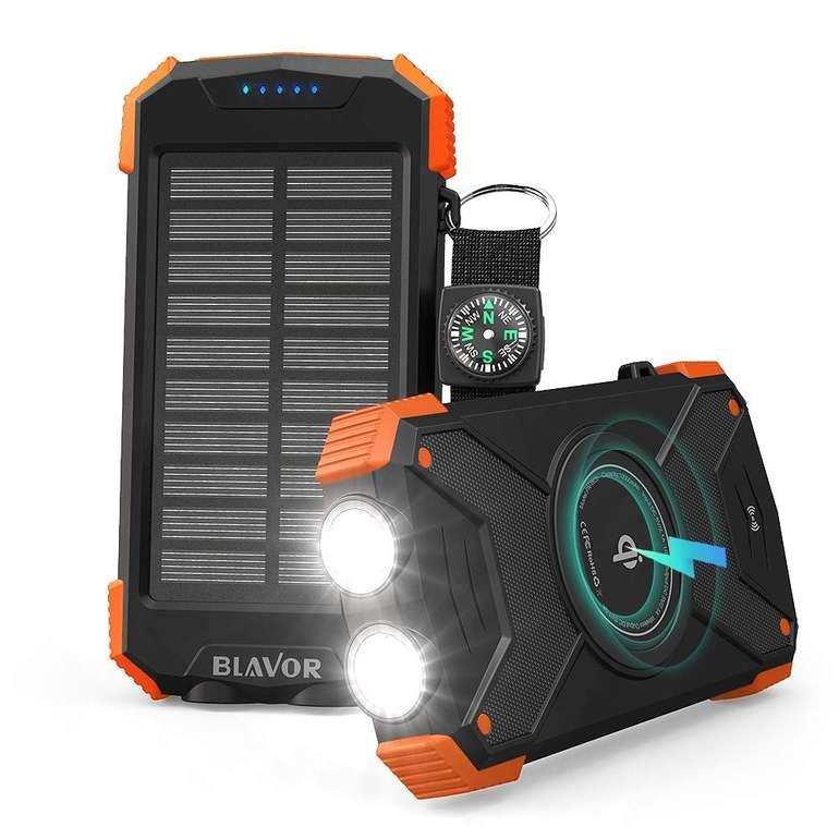 Blavor 10.000mAh Qi Wireless Powerbank mit Type-C Anschluss & Solar-Aufladung für 16,99€