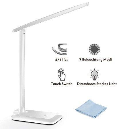 TopElek LED Schreibtischlampe mit Touch Switch & 9 Modi für 15,98€