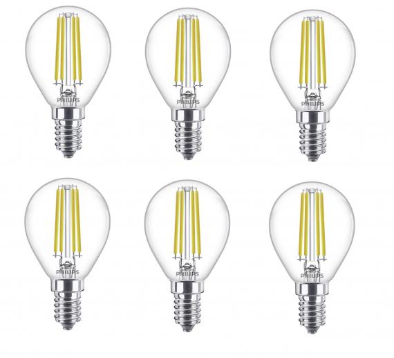 6x Philips E14 LED Leuchtmittel (6.5W = 60W, 806 Lumen, 4000K) für 14,99€ inkl. Versand (statt 42€)