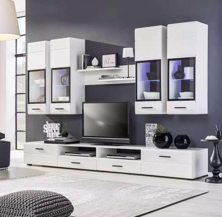 Modern Living - Weiße Wohnwand mit Beleuchtung für 456,44€ inkl. Versand (statt 578€)