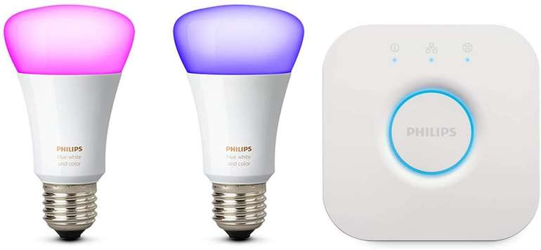 Philips Hue White und Color Ambiance Starter-Set (Bridge + 2x E27) für 77,61€