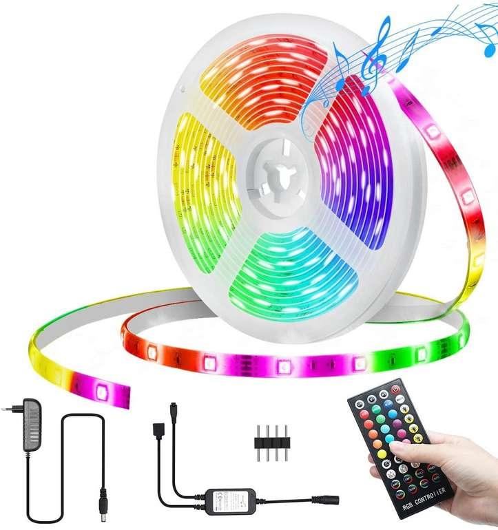 Kingso wasserdichter LED Streifen mit Fernbedienung (5m, RGB, Music Sync) für 10,19€ inkl. Prime Versand (statt 17€)