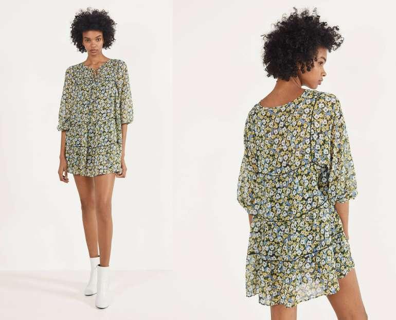 Bershka Geblümtes Babydoll-Kleid in 2 Farben für je 21,94€…