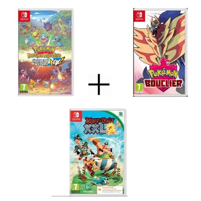 Pokémon: Schild + Pokémon Mystery Dungeon: Retterteam DX + Asterix & Obelix: XXL 2 (Switch) für 82,98€