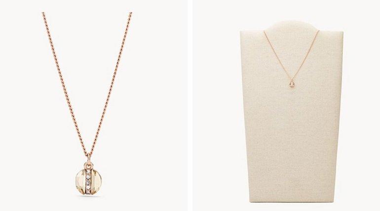 Fossil Damen Halskette Rose Gold-Tone Brass