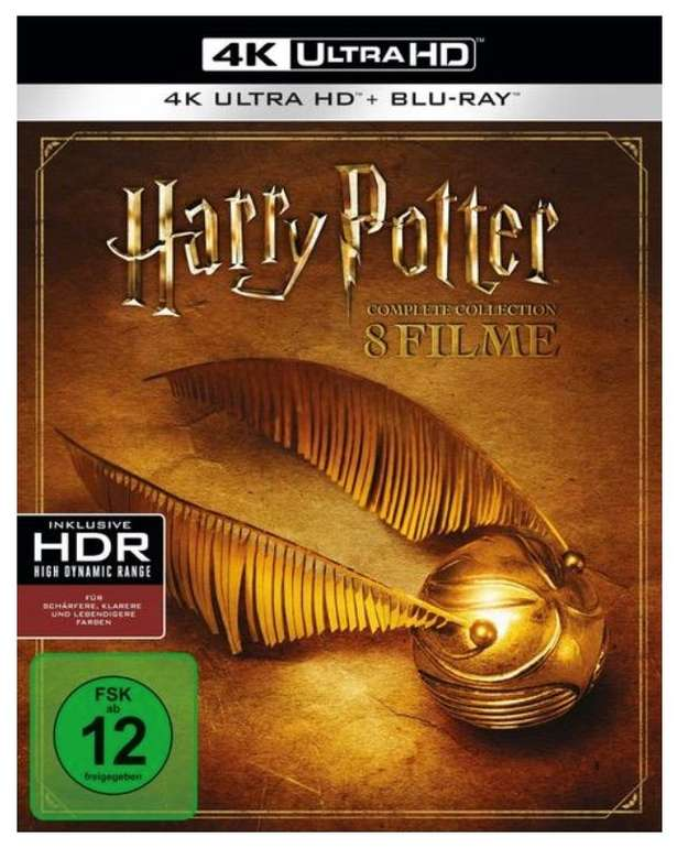Harry Potter: The Complete Collection (8 4K Ultra HDs) (+ 8 Blu-rays 2D) für 69,29€ inkl. Versand (statt 95€)