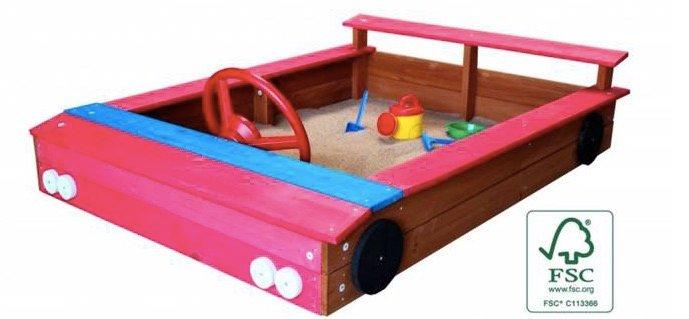 Sandkasten aus Holz in Auto-Form mit Stauraum für 69,95€