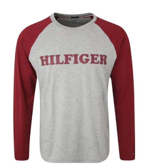 Tommy Hilfiger Underwear Schlafshirt 'CN LS TEE RAGLAN' in graumeliert / rot für 16,69€inkl. Versand