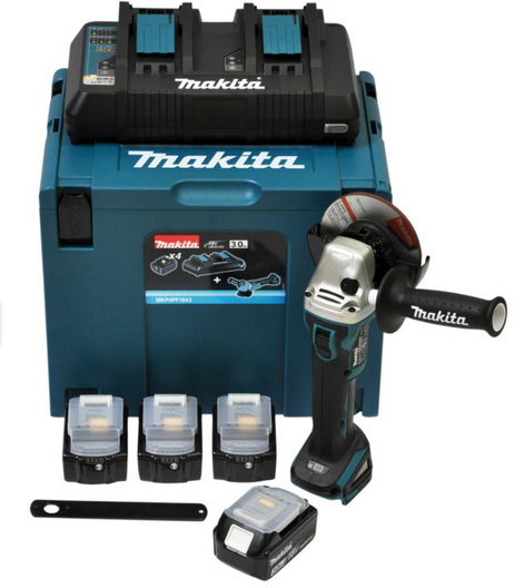 Makita Power Source Kit Li 18,0V 4x 3Ah + DGA504Z + Makpac 4 + DC18RD zu 286,28€