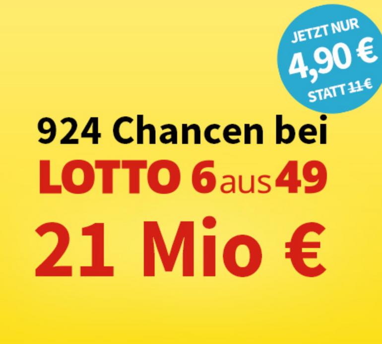 Lotto 6aus49 System-Schein: 924 Chancen zu 4,90€ (statt 11€) - 21 Mio. € Jackpot
