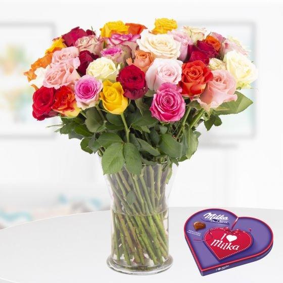 40 bunte Rosen (40cm Stiellänge) + 2 gratis Mini-Schokis oder I love Milka Pralines für 25,90€