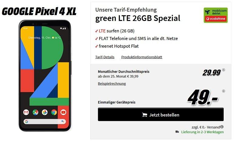 Google Pixel 4 XL Vodafone Allnet-Flat 26GB LTE