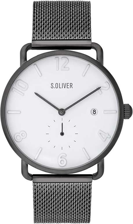 s.Oliver Herren Analog Quarz Uhr mit Edelstahl Armband SO-3717-MQ für 33,91€ (statt 109€)