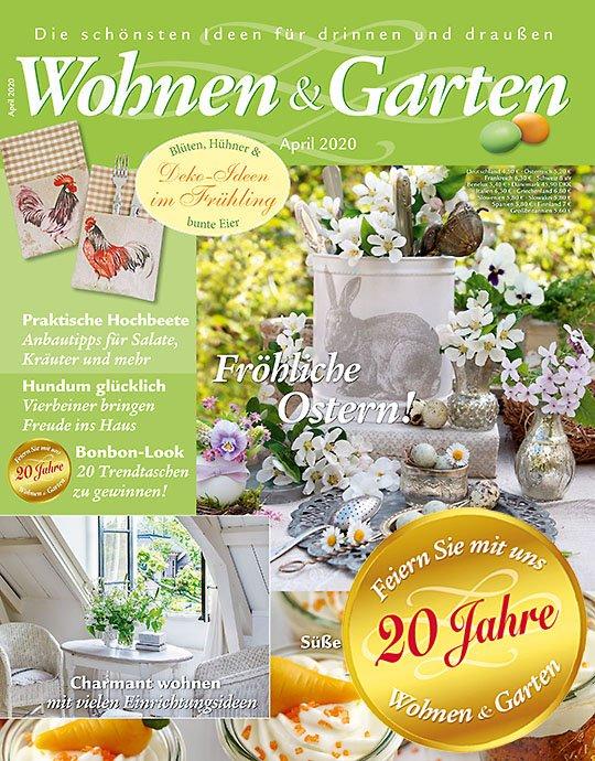 """6 Ausgaben der Zeitschrift """"Wohnen & Garten"""" für 24€ + 15€ Verrechnungsscheck"""