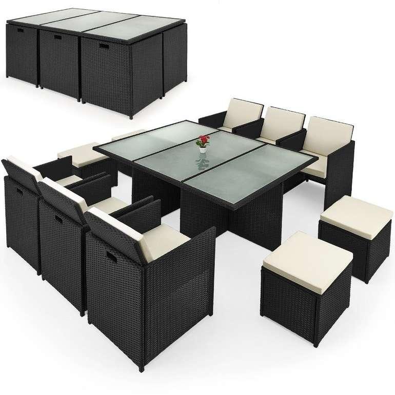 Casaria Polyrattan Sitzgruppe + Tisch Cube (10 Personen, Klappbare Rückenlehne) für 428,10€ inkl. Versand (statt 600€)