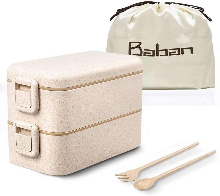 Baban Lunchbox mit Gabel, Löffel und Tasche (BPAfrei) für 5,99€ inkl. Prime Versand (statt 12€)