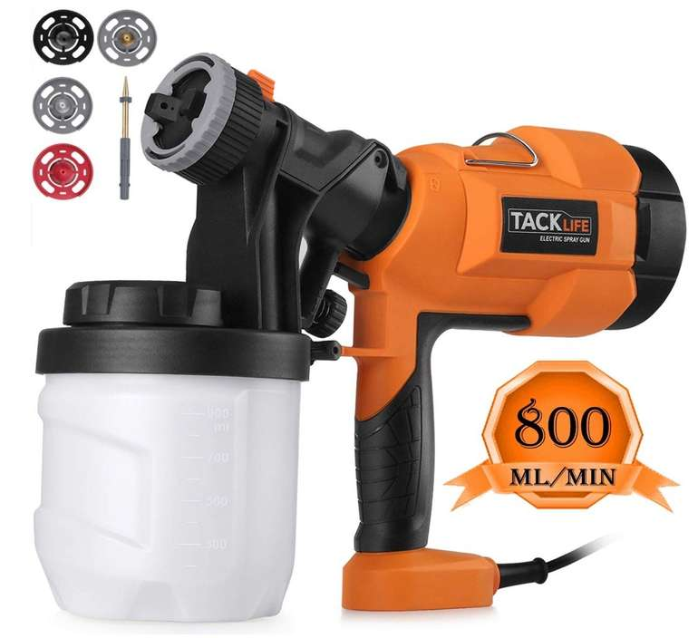 Tacklife SGP15AC - Elektrische Farbspritzpistole (800ml/min) für 30,99€