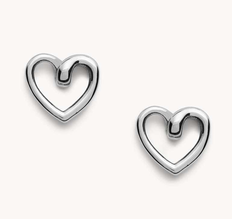 "Fossil Damen Ohrstecker Steel Stud ""Heart"" in 2 Farben für je 16,32€ inkl. Versand (statt 35€)"