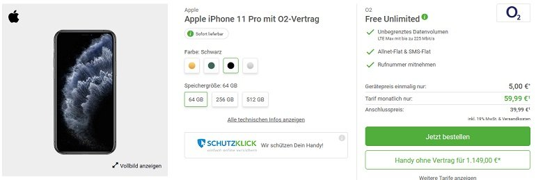 Apple iPhone 11 Pro o2 Free Unlimited