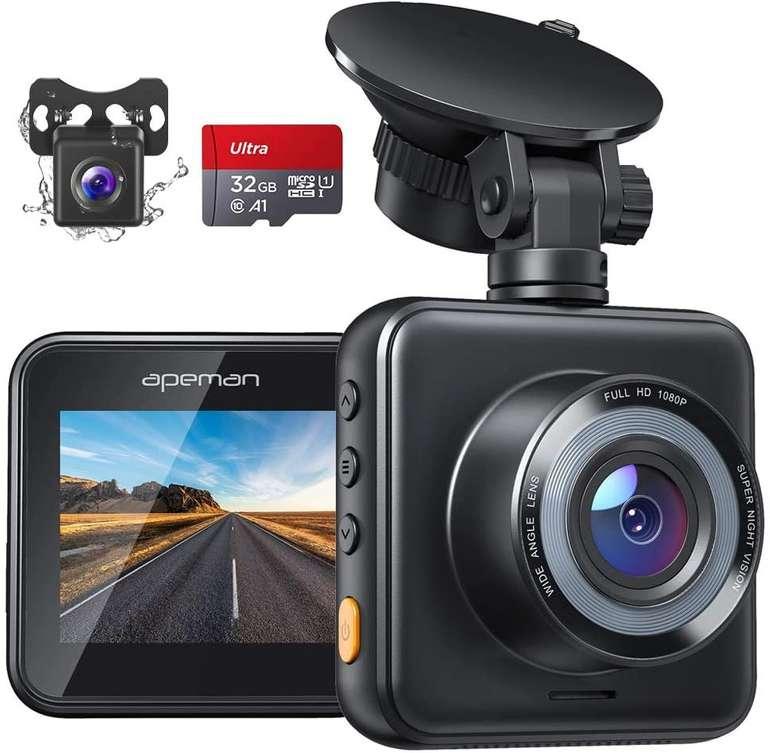 Apeman C420D 1080P Dashcam mit Rückkamera & 32 GB Speicherkarte für 33,99€ inkl. Versand (statt 50€)