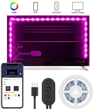 Minger - 2M USB RGB TV Hintergrundbeleuchtung mit App-Steuerung für 9€ (Prime)