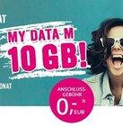 o2 My Data Tarife: 1GB - 20GB: z.B. 10GB LTE 225 Mbit/s Datenflat für 9,99€ mtl.
