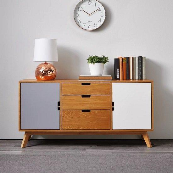 Bessagi Home Maris Sideboard in Buchefarben/Grau/Weiß für 153,30€ (statt 260€)