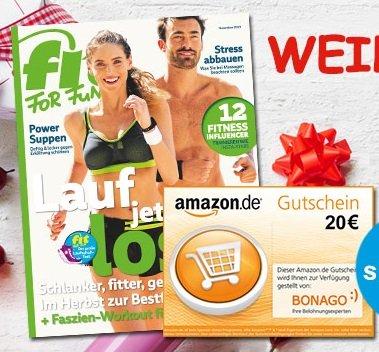 """Halbjahresabo """"Fit For Fun"""" mit 6 Ausgaben für 21,60€ + 20€ Gutschein für Amazon"""