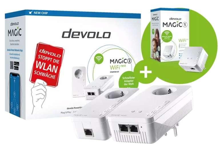 Devolo Magic 2 WiFi next Starter Kit + Devolo Magic 1 WiFi mini Powerline-Adapter für 177€ (statt 245€)